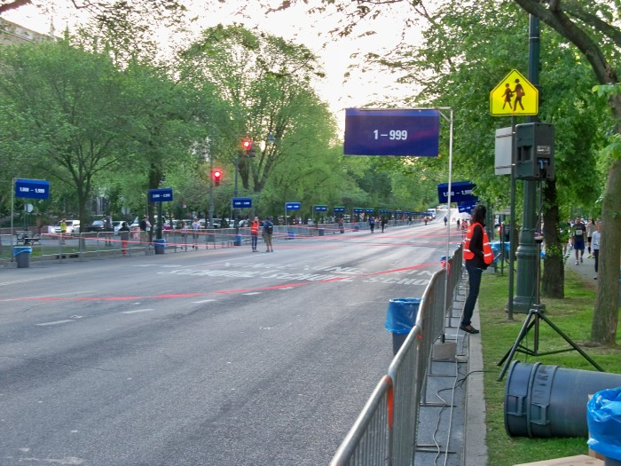 The corrals stand empty prior to the race